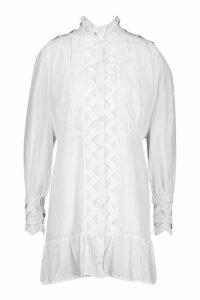 Womens High Neck Crochet Shirt Dress - white - 8, White