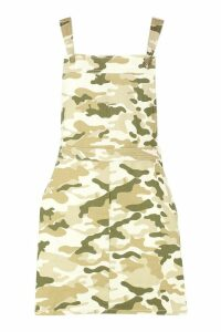 Womens Camo Print Denim Pinafore Dress - beige - 12, Beige