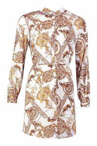 Womens Chain Print Shirt Dress - white - 8, White