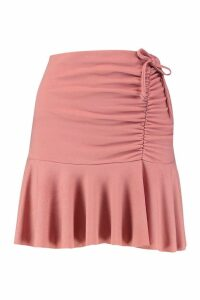 Womens Ruched Frill Mini Skirt - pink - 8, Pink