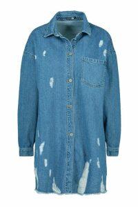 Womens Distressed Denim Shirt Dress - blue - 12, Blue
