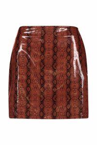 Womens Super Stretch Vinyl Snake Mini Skirt - brown - 16, Brown
