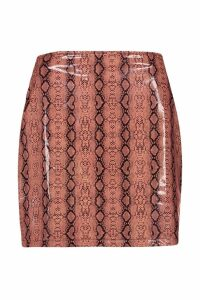Womens Super Stretch Vinyl Snake Mini Skirt - Beige - 16, Beige