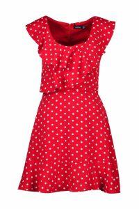 Womens Polka Dot Frill Skater Dress - red - 10, Red