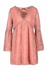 Womens Burnout Floral Trim Smock Dress - pink - 14, Pink