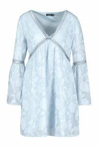 Womens Burnout Floral Trim Smock Dress - washed blue - 14, Washed Blue