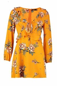 Womens Floral Print Frill Detail Smock Dress - yellow - 14, Yellow