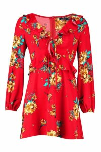 Womens Floral Print Frill Detail Smock Dress - red - 16, Red