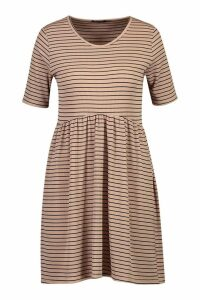 Womens Rib Crew Neck Oversized Smock Dress - beige - 14, Beige