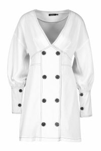 Womens Contrast Stitch Button Detail Dress - white - 14, White