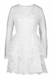 Womens Embroidered Skater Dress - white - 14, White