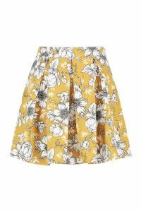 Womens Box Pleat Large Floral Skater Skirt - yellow - 8, Yellow