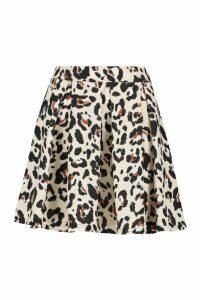 Womens Leopard Print Box Pleat Skater Skirt - Beige - 16, Beige