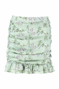 Womens Ditsy Floral Rouched Drop Hem Mini Skirt - white - 16, White