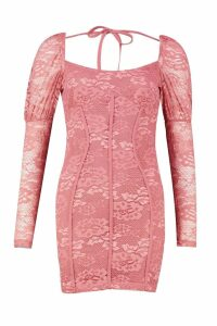Womens Long Sleeve Mini Peasant Lace Dress - pink - 14, Pink