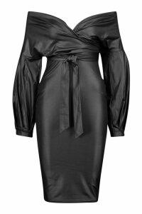 Womens Wet Look Off The Shoulder Wrap Midi Dress - black - 14, Black