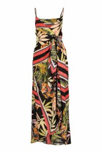 Womens Tropical Print Hanky Hem Maxi Dress - black - 8, Black