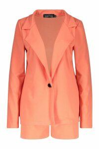Womens Tailored Blazer & Short Co-Ord - orange - 12, Orange