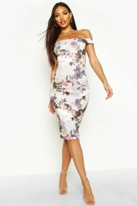 Womens Off The Shoulder Floral Midi Dress - multi - 16, Multi