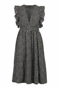 Womens Dalmation Spot Ruffle Sleeve Midi Dress - black - 14, Black