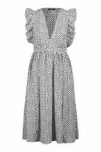 Womens Dalmation Spot Ruffle Sleeve Midi Dress - white - 6, White