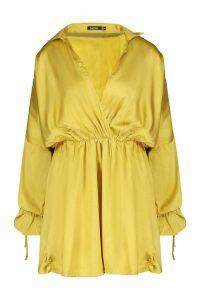 Womens Satin Ruched Sleeve Skater Shirt Dress - yellow - 8, Yellow