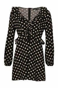 Womens Polka Dot Frill Smock Dress - black - 16, Black