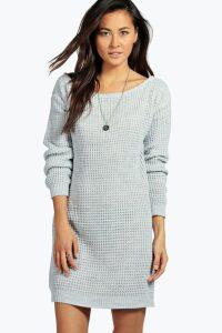 Womens Slash Neck Marl Knit Jumper Dress - grey - M/L, Grey