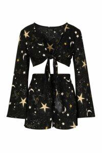 Womens Cosmic Print Tie Front Crop Top & Short Co-Ord - black - 10, Black