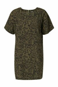 Womens Animal Print Shift Dress - green - 12, Green