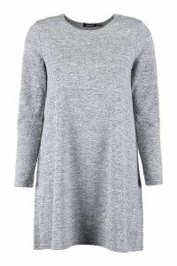 Womens Knitted Swing Dress - grey - 14, Grey