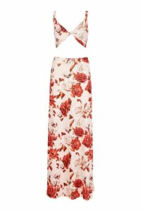 Womens Large Floral Maxi Skirt And Bralet Co-Ord - pink - 12, Pink