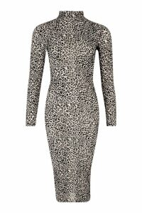 Womens Long Sleeve High Neck Midi Dress - multi - 10, Multi