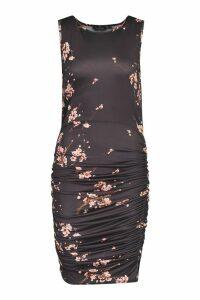 Womens Printed Slinky vest Ruched Midi Dress - black - 10, Black