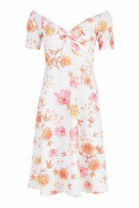 Womens Floral Bardot Twist Midi Skater Dress - white - 8, White