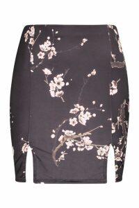 Womens Slinky Cherry Blossom Split Mini Skirt - black - 14, Black