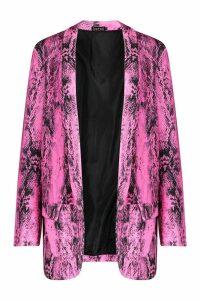 Womens Neon Snake Print Blazer - Pink - 10, Pink