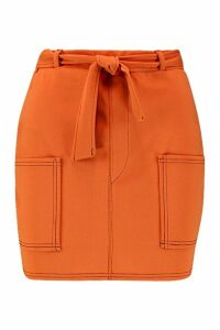 Womens Contrast Stitch Pocket Detail Mini Skirt - orange - 14, Orange