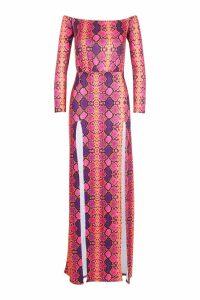 Womens Off The Shoulder Slinky Split Maxi Dress - purple - 14, Purple