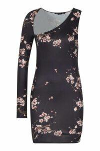 Womens Slash Neck Slinky One Shoulder Mini Dress - black - 14, Black