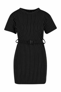 Womens Pinstripe Buckle Detail Belted Shift Dress - black - 14, Black