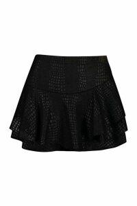 Womens PU Croc Leather Look Short - black - 10, Black