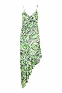 Womens Asymetric Leopard Palm Dress - white - 14, White