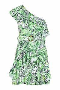 Womens Leopard Palm Ruffle Belted Mini Dress - white - 14, White
