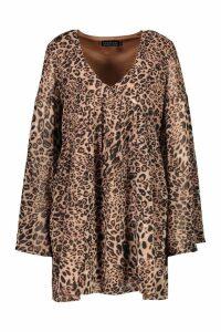 Womens Woven Leopard V Neck Smock Dress - beige - 12, Beige