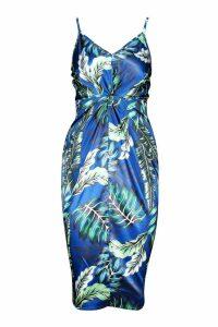 Womens Satin Knot Front Plunge Dress - blue - 16, Blue