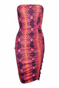 Womens Snake Print Slinky Ruched Mini Dress - purple - 8, Purple