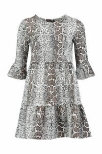 Womens Snake Print Ruffle Sleeve Smock Dress - grey - 12, Grey