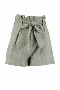 Womens Paperbag Tailored Buckle Linen Look Short - green - 20, Green