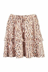 Womens Mixed Animal Print Tie Front Ruffle Mini Skirt - brown - 10, Brown
